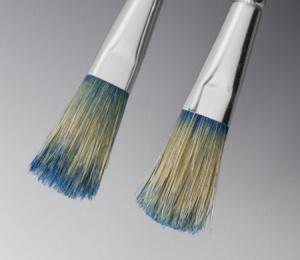 Mikroemulsionen/ Pinselversuch/Abbeizer alte lösemittelbasierte Farbe – Vergleich links HR, rechts ME